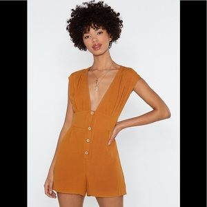 Nasty Gal Plunging Button Down Linen Romper